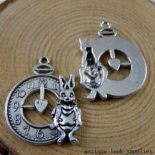 Vintage Silver Alloy Alarm Clock Rabbit Pendants Charms Craft Findings 12x 50917
