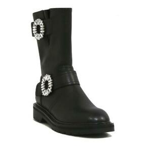 Fashion Women's Round Toe Flat Leather Rhinestones Ankle Boots Zipper Shoes Size