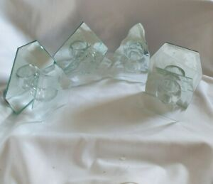 ❀ڿڰۣ❀ FESTIVE SEASON Set Of 4 CHRISTMAS DESIGN Mirrored Glass TEA LIGHT HOLDERS❀