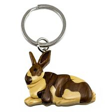 "Wood Intarsia Rabbit Keychain Key Ring Handcrafted 2"" Long New!"