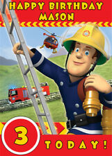 Fireman Sam Red Personalised Birthday Card - Add your own name & age