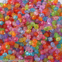 2000 Mix Acryl Doppelkegel Perlen Bicone Rhomben Facettiert Beads 4x4mm