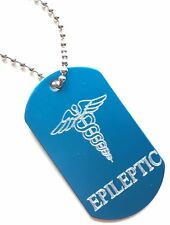 Epileptic SOS Medical Alert ID Blue Tag + Steel Chain (P7)