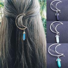 Moon Natural Stone Opal Hexagon Pendant Hair Clip Hairpin Accessories Hair Pins