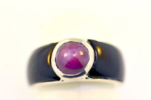 Genuine ~3.0 carats STAR RUBY and ONYX Sterling Silver 925 Ring Sz 6