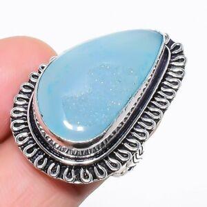 Blue Agate Druzy Gemstone Handmade Ethnic Silver Jewelry Ring Size 7 RR804