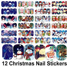 12 Sheets Christmas Water Transfer Nail Art Decoration Stickers Decals Xmas DIY