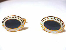Oval enamelled cufflinks Gold coloured metal  Blue centre/white border  NEW