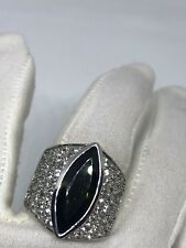 Vintage Genuine Green Tourmaline White Sapphire 925 Sterling Silver Deco Ring