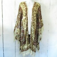 New Angie Kimono L Large Olive Green Floral Tie Dye Bleach Boho Peasant Crochet
