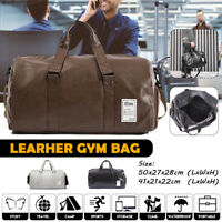 Mens Duffle Large Capacity Bags PU Leather Luggage Travel Shoulder Gym Handbag