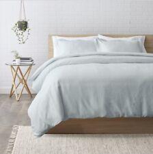 Anthropologie Relaxed Cotton-Linen Duvet Cover Queen Light Blue