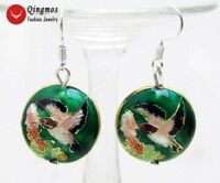 18mm Round Dark Green Cloisonne Hummingbird Beads Dangle Earrings for Women 651