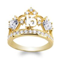 JamesJenny Ladies 10K/14K Yellow Gold 15 Anos Quinceanera  Crown Ring Size5-10