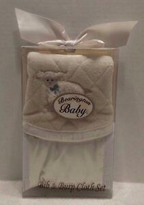 Bearington Baby Collection Lamby Bib/Burp Set
