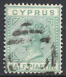 CYPRUS SCOTT 11 USED FINE - 1881 1/2p EMERALD GREEN ISSUE  CAT $52.50