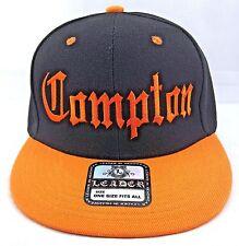 COMPTON Snapback Hat Los Angeles California Cap South Central Black Orange New