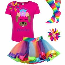 Kid Girls Birthday Puppy Dog Rainbow Outfit Flower Crown Personalized Name Gift