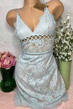 Victoria's Secret Dream Angels Aqua Floral Lace And Ring Slip Seafoam Mint M NEW