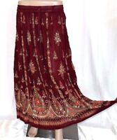 Indian Long Sequin Skirt Boho Bollywood Belly Dance Hippie Gypsy Maroon