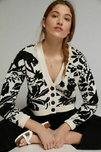 Anthropologie Maeve Panther Cardigan size L new nwt