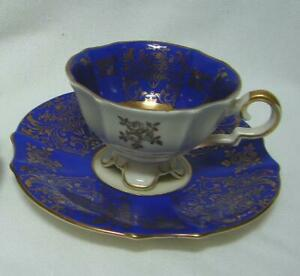 Lovely ALKA Bavaria Royal Blue Gold Demi Tasse Coffee cup saucer PRICE REDUCED $