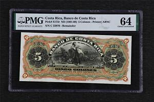 1901-08 Costa Rica Banco de Costa Rica 5 Colones Pick# s173r PMG 64 Choice UNC