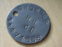WW2 relic dogtag ww2 RAC RTR Recce Replacement from GSC - CROWDER 686