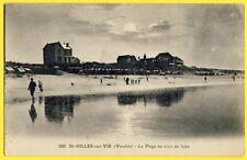 cpa 85 - SAINT GILLES CROIX de VIE (Vendée) La PLAGE au CLAIR de LUNE en 1923
