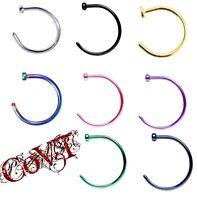"18G & 20G Nose Hoop Ring 3/8"" 10mm Surgical Steel Body Piercing Color Stud"