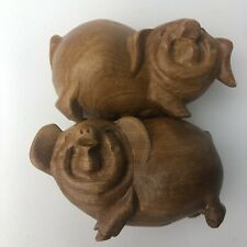 New listing Chinese Hand Carved Fruit Wood Smiling Happy Pigs Figurines Set Male Female