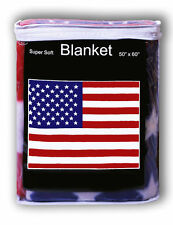 "Usa Flag Fleece Throw Blanket 50"" x 60"" - New Lower Price Free Shipping"