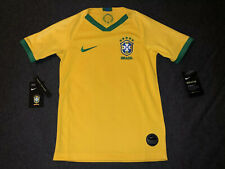 New Nike Brazil Youth Small S Yellow Jersey Football Soccer Away Brasil Kids NWT