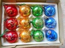 """GLITTER PAINTED VINTAGE GLASS BAUBLES LOT 12 MIX BOX XMAS TREE HANGERS 2"""" OLD"""