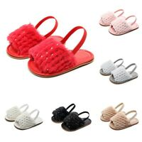 Newborn Infant Baby Girls Sequins Solid Flock Soft Sandals Slipper Casual Shoes