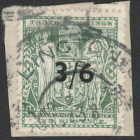 """NEW ZEALAND 1940/53 """"ARMS"""" SG F187/213 3/6 ON 3s6d GREY GREEN FISCAL USED PIECE"""