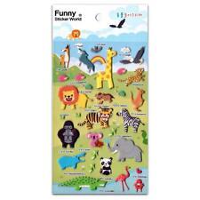 CUTE WILD ANIMAL STICKERS Raised Puffy Vinyl Sticker Sheet African Safari Craft
