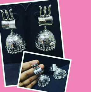 Indian Ethnic Bollywood Style Bridal Jewelry Earring Earrings Silver Plated Shiv