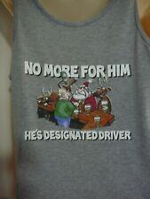 Mens Christmas Singlet Sleeveless T-shirt top, size S, grey, Designated Driver