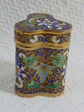 ANTIQUE CHINESE ASIAN CLOISONNE PILL SNUFF BOX W/ LOTUS FLOWER