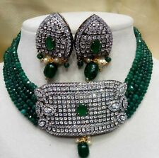 Latest South Indian Bollywood American Diamond Green Choker Necklace Earring Set