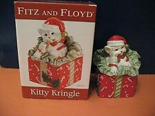 Fitz And Floyd Kitty Kringle Cat Christmas Lidded Box 2009 w Box