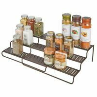 mDesign Adjustable, Expandable Kitchen Organizer Spice Rack Holder - Bronze
