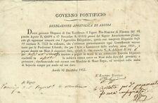 Delegazione Apostolica di Ascoli - Intimazione di Pagamento 1852