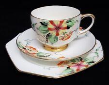 RARE ! Paragon Art Deco Hand Painted Trio Cup Saucer Plate Nasturtiun / Petunia