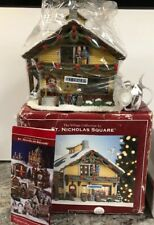 New St Nicholas Square Ski Chalet Lodge Cabin Lighted House Village Wreath 2007