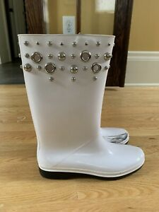 Stuart Weitzman Womens Embellished Studded Rain Boots White Size 9