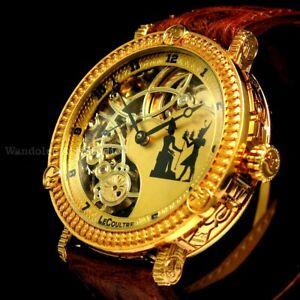 Vintage Men's Wrist Watch Gold Skeleton Mens Wristwatches by Le Coultre Movement