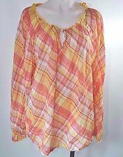 Lane Bryant Yellow Pink Plaid Peasant Blouse Keyhole LS Top Shirt Plus Sz 26 28