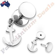 316L Surgical Steel Silver Ion Plated Fake Ear Plug With Anchor Dangle